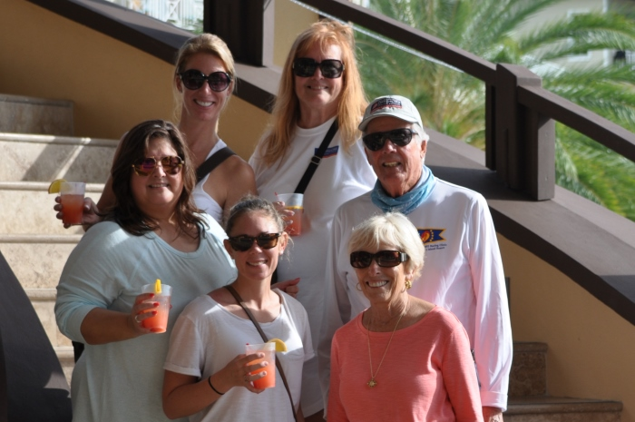 The Offshore Sailing School sales team with Steve and Doris Colgate at Scrub Island Resort in the British Virgin Islands.