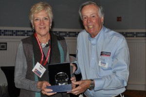 Mary Wright receives special recognition award from Steve Colgate  in memory of Chuck Wright