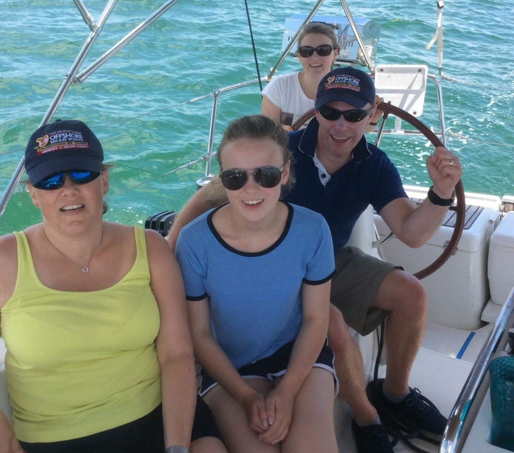 family on live aboard cruising vacation