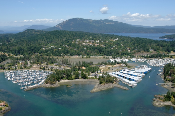 Aerial photograph of Sidney marinas, Sidney, British Columbia, Canada.