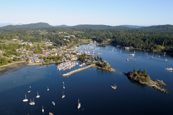 Ganges from the air with Grace Islet on the right, Salt Spring Island, British Columbia, Canada